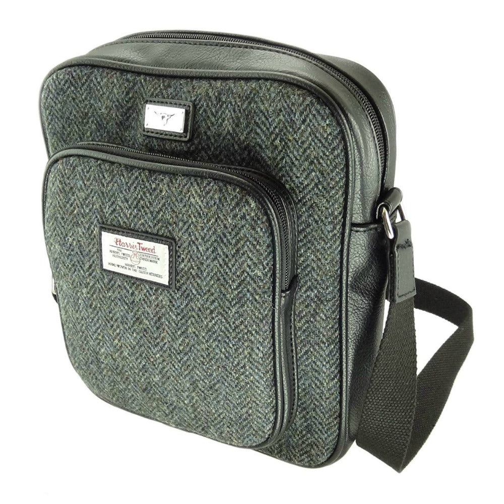 Glen Appin Harris Tweed Man Bag Tay Charcoal Herringbone