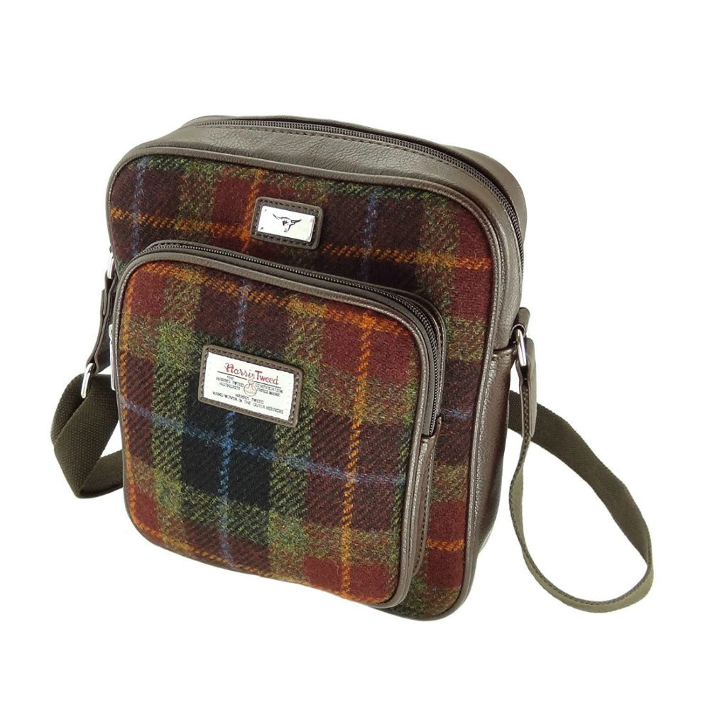 Glen Appin Harris Tweed Man Bag Tay Rust Check