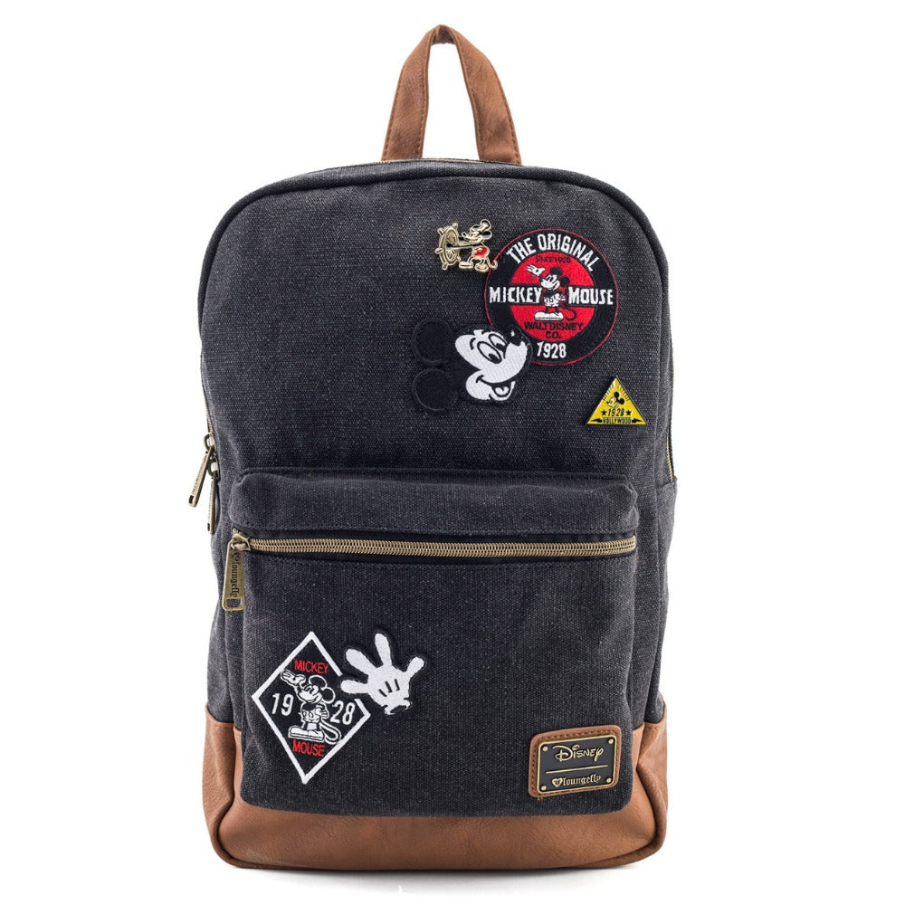 Loungefly Mickey Mouse Patches Denim Backpack Black