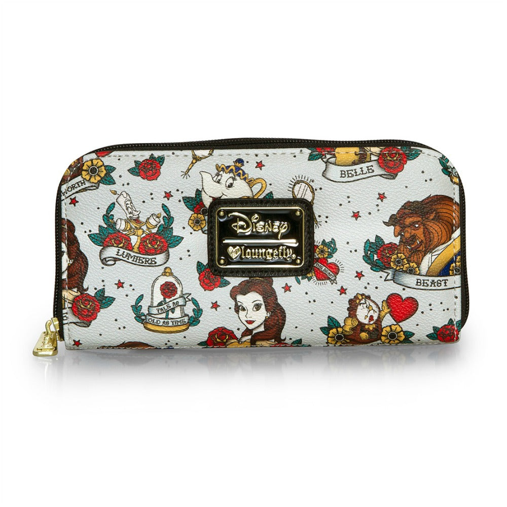 Loungefly Belle Tattoo AOP Zip Around Wallet