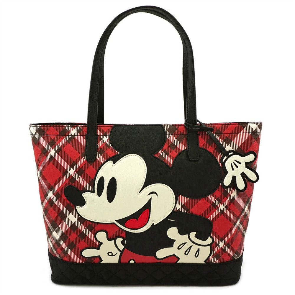 Loungefly Mickey Mouse Red Plaid Tote Bag