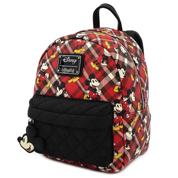 Loungefly Mickey Mouse Red Plaid Mini Backpack