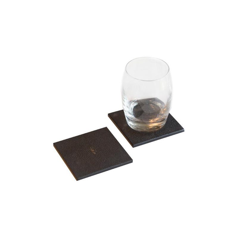 Posh Trading Company Coaster in Faux Shagreen Chocolate