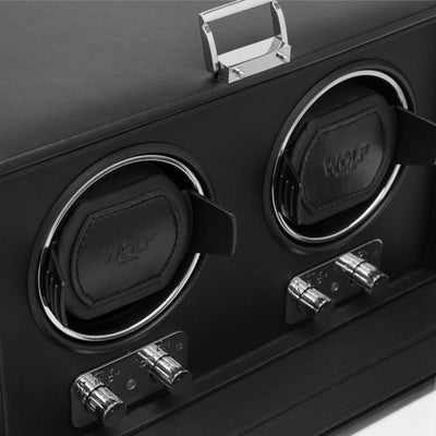 WOLF 270102 Heritage Double Watch Winder with Cover Black
