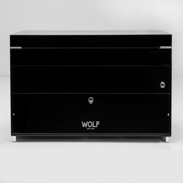 WOLF 454770 Savoy Triple Watch Winder with Storage Black