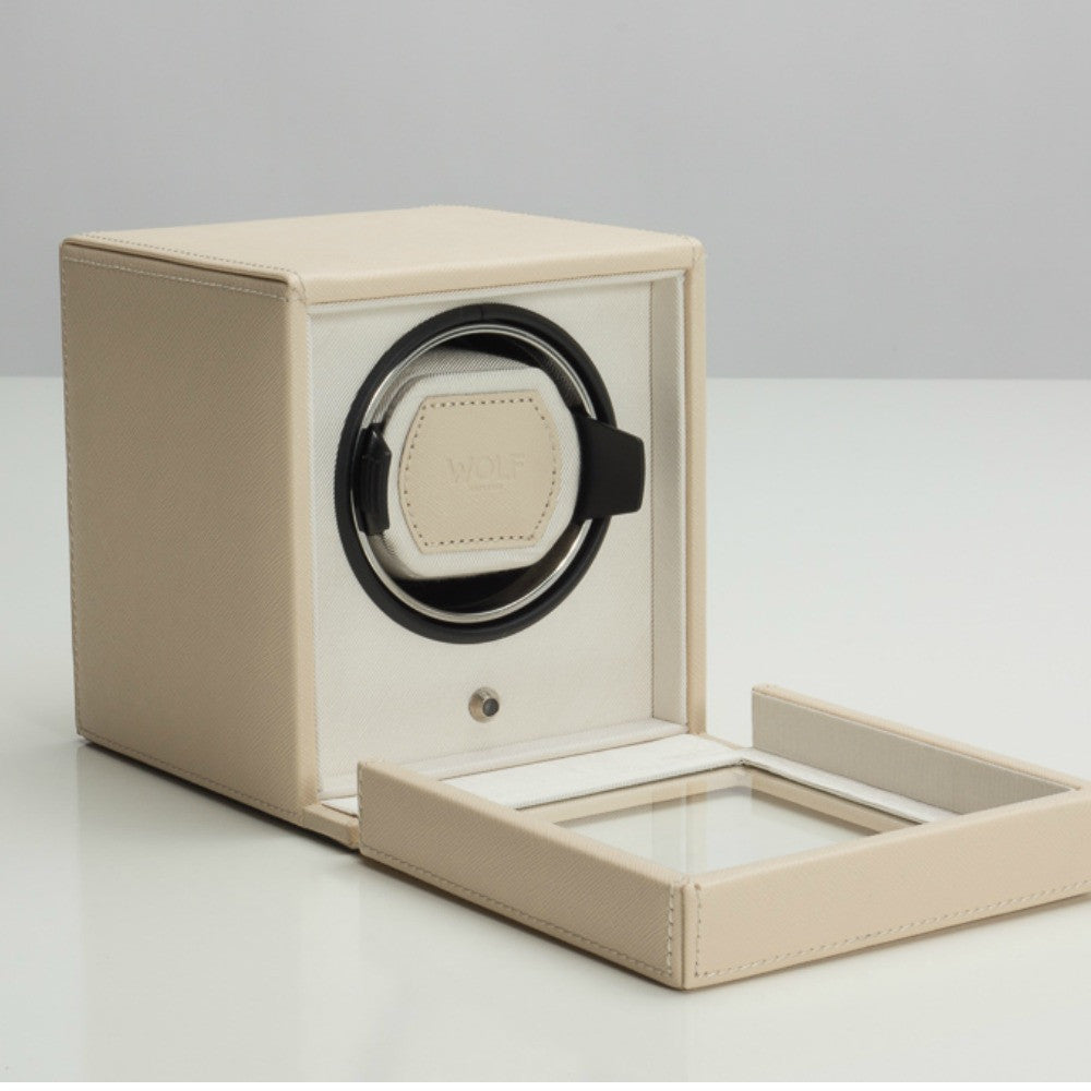 Wolf Designs Cub Single Watch Winder with Cover - Cream