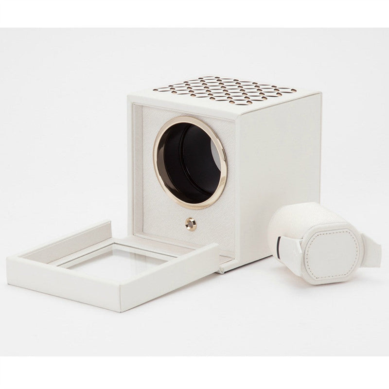 Wolf Designs Chloe Single Watch Winder with Cover - Cream
