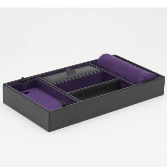 Wolf Designs Blake Valet Tray with Watch Cuff - Black Pebble