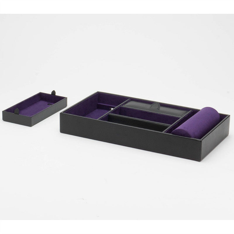 Wolf 306428 Blake Valet Tray with Watch Cuff - Black Pebble