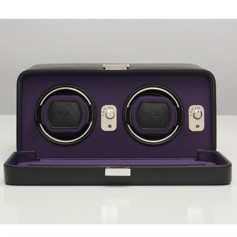 Wolf 452603 Windsor Double Watch Winder Black/Purple