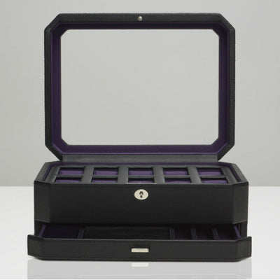 Wolf 458603 Windsor 10pc Watch Box with Accessory Drawer Black and Purple