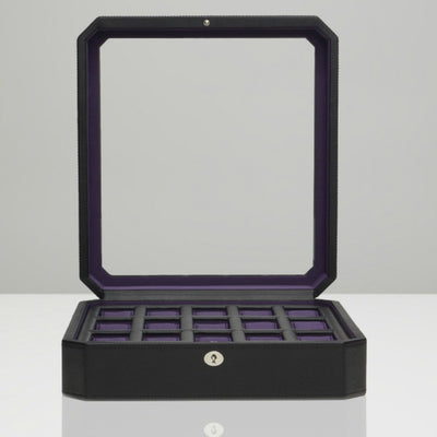 Wolf 458503 Windsor 15pc Watch Box Black and Purple