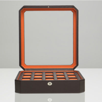 Wolf 458506 Windsor 15pc Watch Box Brown and Orange