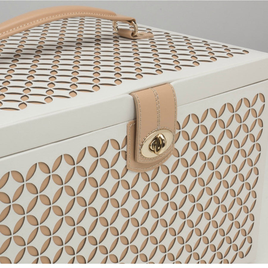 Wolf Designs Chloe Large Jewellery Box with Travel Case - Cream
