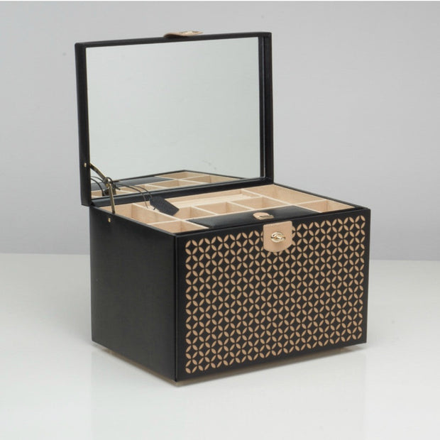 Wolf 301602 Chloe Extra Large Jewellery Box with Travel Case Black