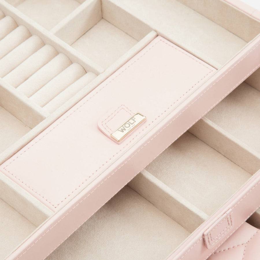 Wolf Caroline Medium Jewellery Case - Rose Quartz
