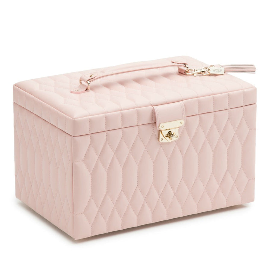 Wolf Caroline Large Jewellery Case - Rose Quartz