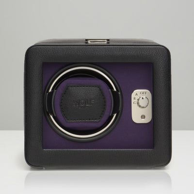 WOLF 452503 Windsor Single Watch Winder with cover Black/Purple