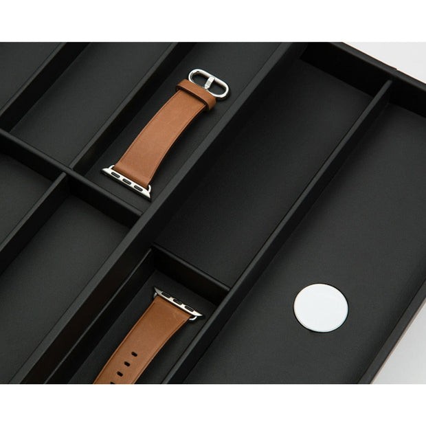Wolf 463003 Watch Valet with Strap Tray for Apple Watch Black