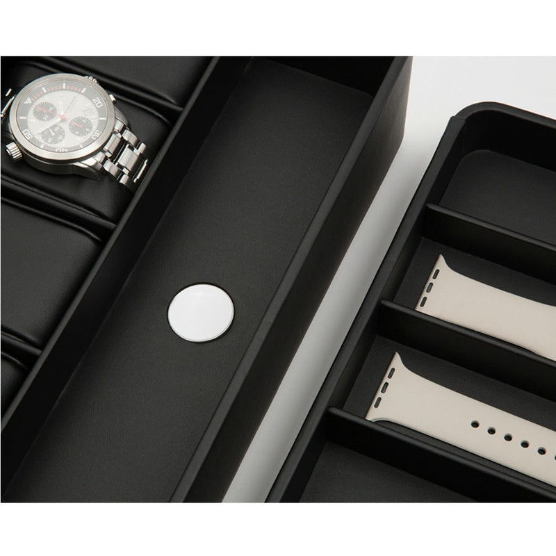 Wolf 463103 6 Piece Watch Box with Strap Tray for Apple Watch Black