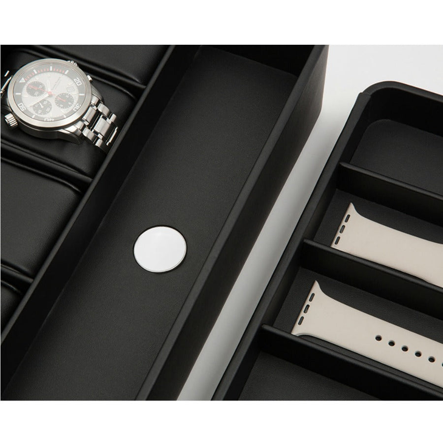 Wolf 6 Piece Watch Box with Strap Tray for Apple Watch - Black