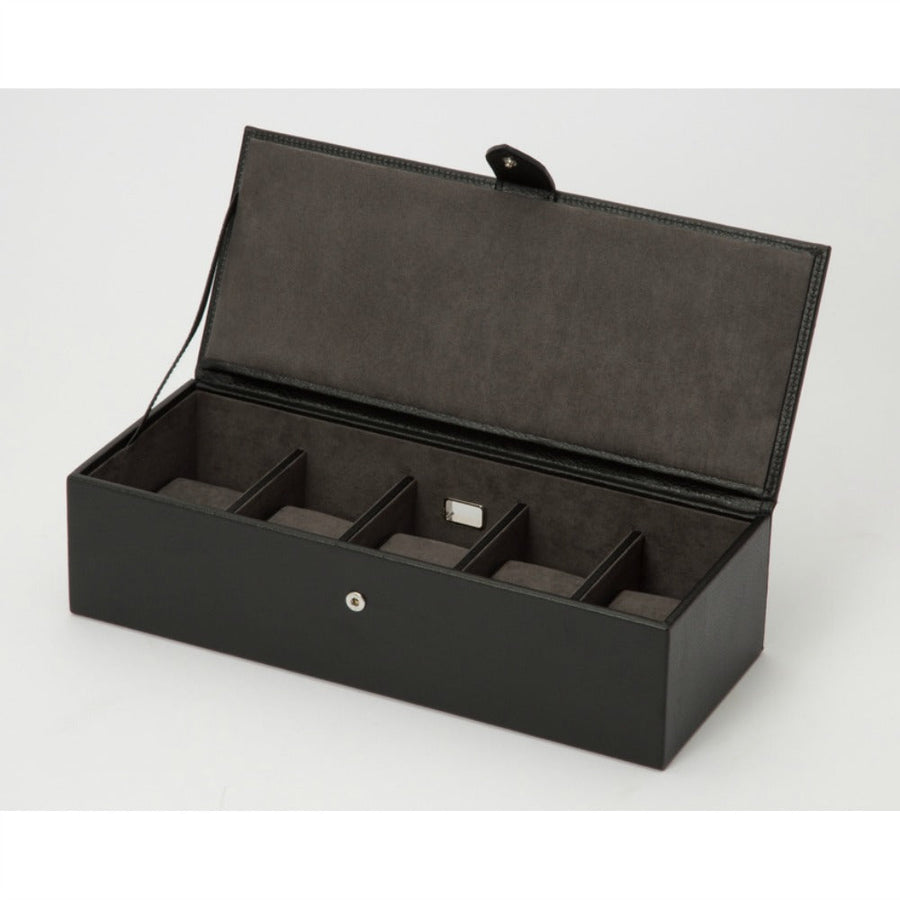WOLF Blake 5 Piece Watch Box - Black/Grey Pebble Leather