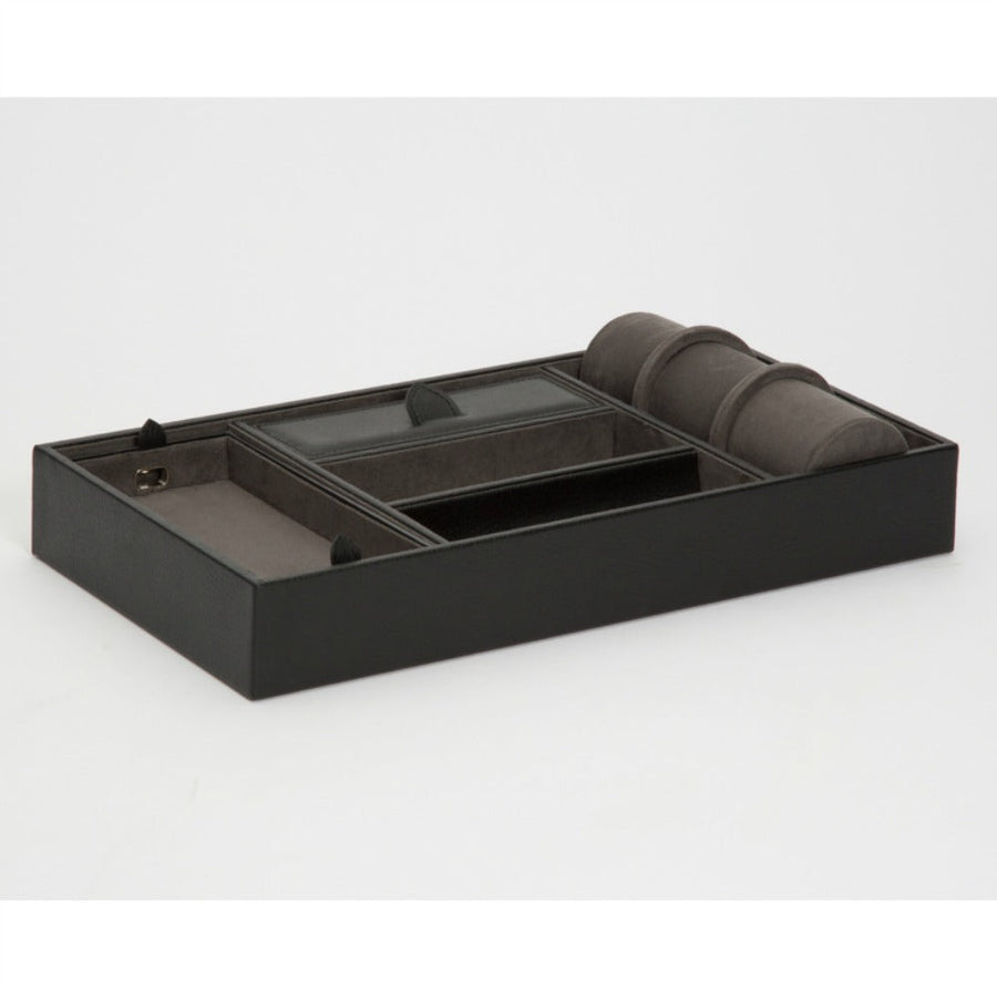 WOLF Blake Valet Tray with Watch Cuff - Black/Grey Pebble Leather