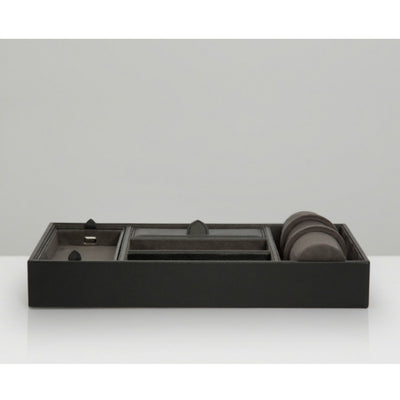 Wolf 306402 Blake Valet Tray with Watch Cuff Black/Grey Pebble Leather