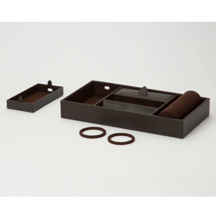 WOLF Blake Valet Tray with Watch Cuff - Brown Pebble Leather