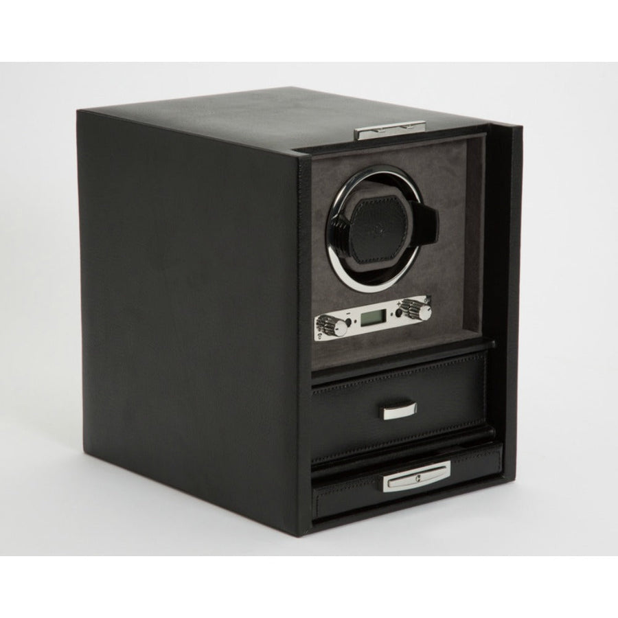 WOLF Blake Single Watch Winder - Black/Grey Pebble Leather