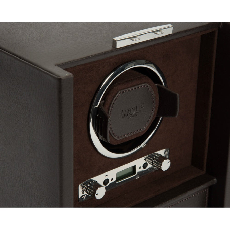 WOLF Blake Single Watch Winder - Brown Pebble Leather
