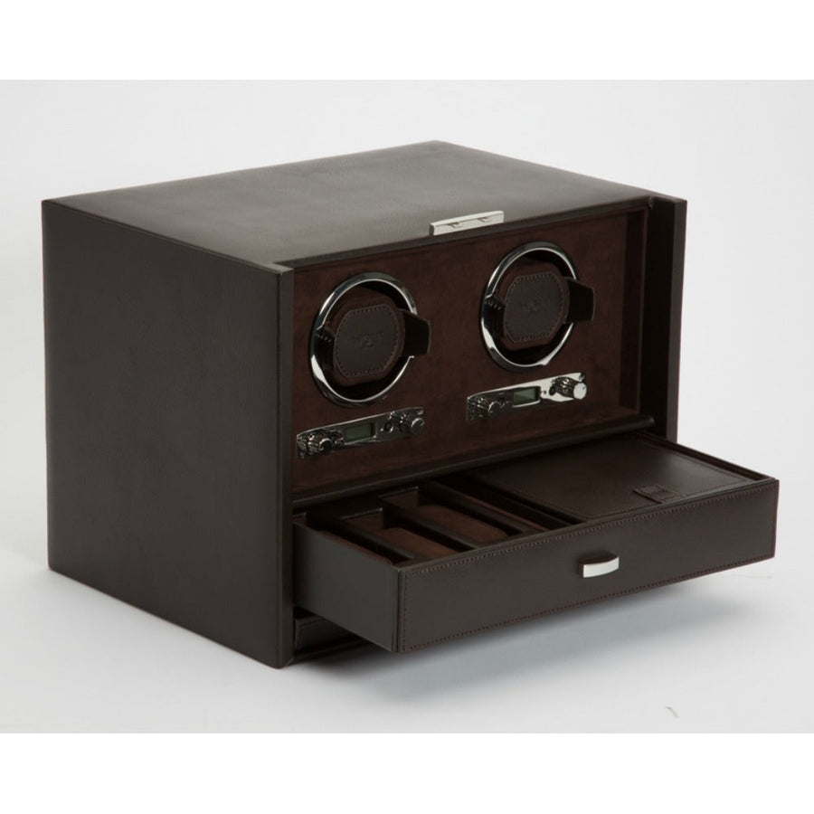WOLF Blake Double Watch Winder - Brown Pebble Leather