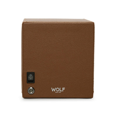 WOLF Cub Single Watch Winder with Cover - Cognac