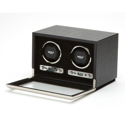 Wolf 461820 Exotic Double Watch Winder Black Leather
