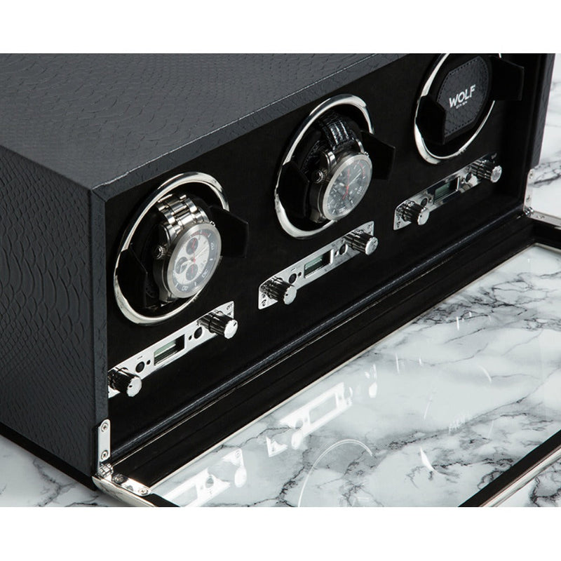 Wolf 461920 Exotic Triple Watch Winder Black Leather