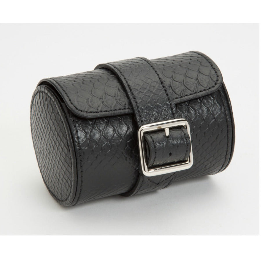WOLF Exotic Single Watch Roll - Black Leather