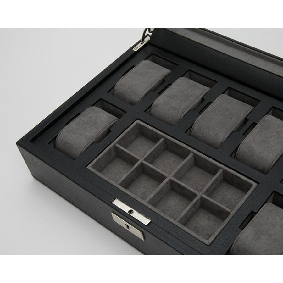 WOLF Howard Watch Box - Black Pebble Leather