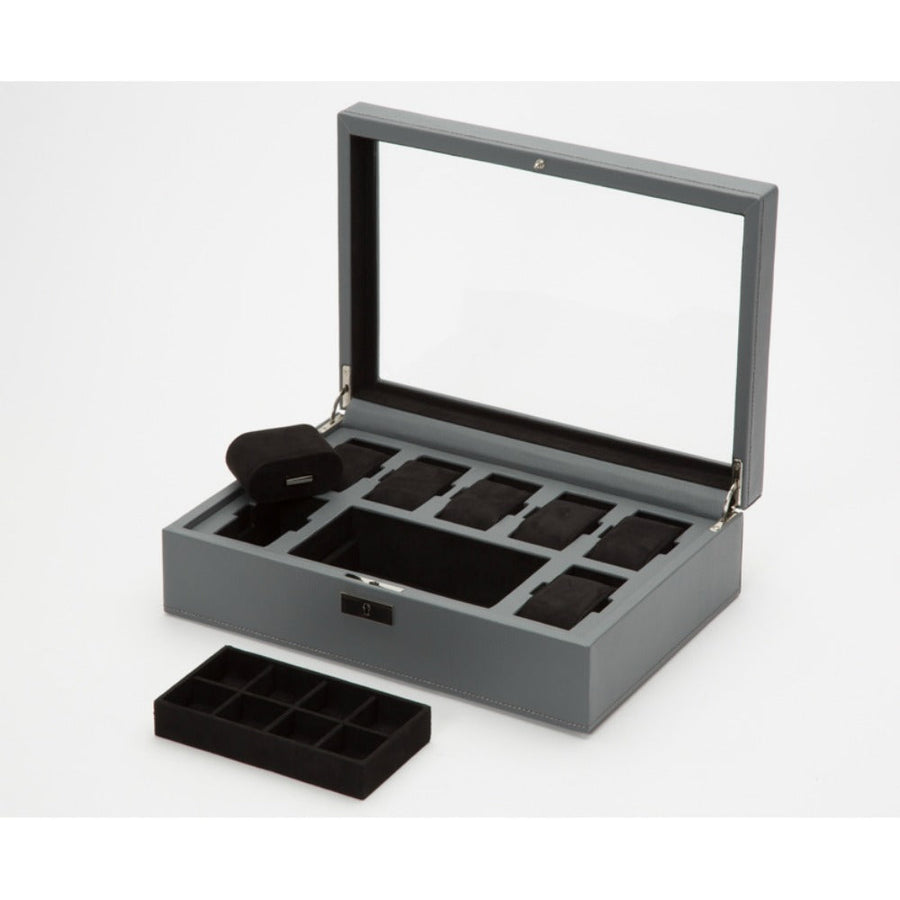 WOLF Howard Watch Box - Grey Pebble Leather