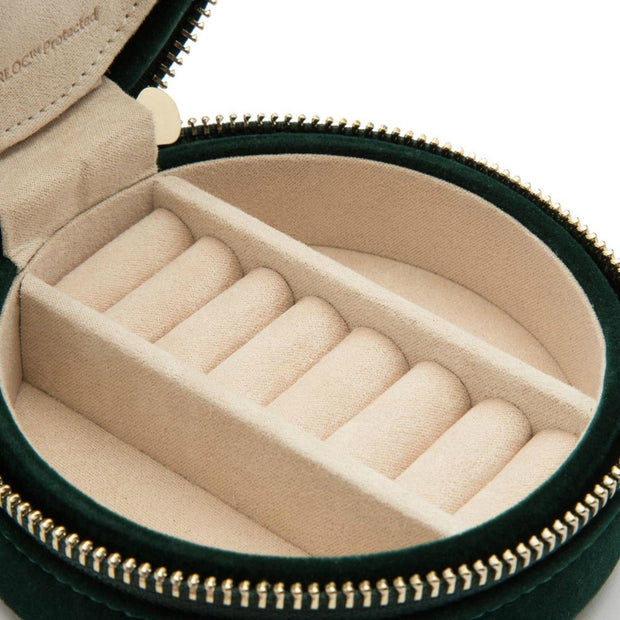 Wolf 393212 Zoe Round Travel Jewellery Case Forest Green