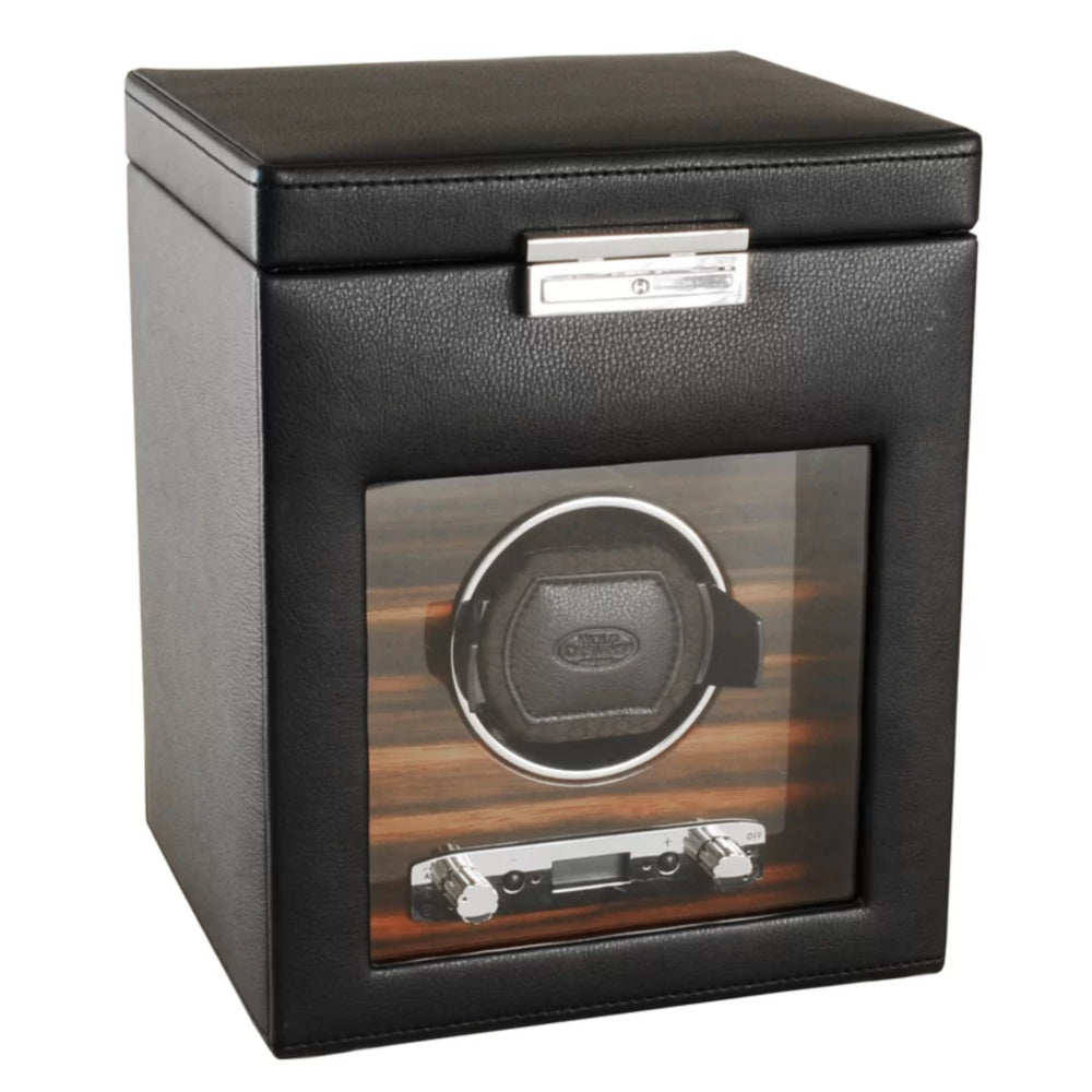 Wolf 457156 Roadster Single Watch Winder with Storage - Ebony