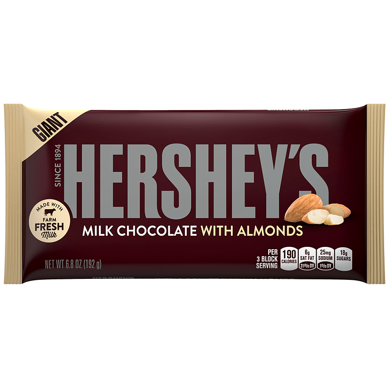 Hershey's Giant Bar Milk Chocolate with Almond 6.8oz Case of 12