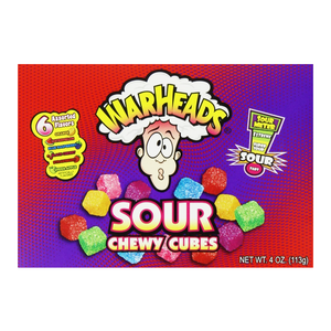 Warheads Theatre Box Chewy Cubes 4oz Case of 12