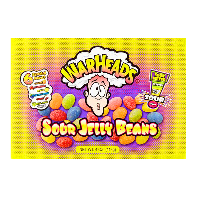 Warheads Theatre Box Sour Jelly Beans 4oz Case of 12