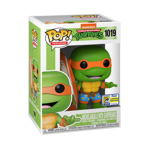 Funko Pop! Television: TMNT - Michelangelo with Surfboard 1019 (SDCC 2020) (SDCC Sticker) (Buy. Sell. Trade.)