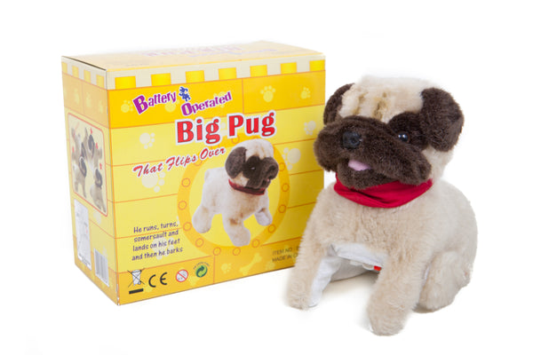 Somersaulting Big Pug Battery Operated Toy Dog