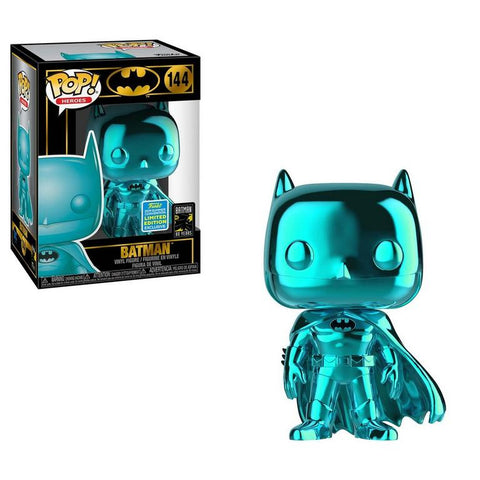Funko Pop! Heroes: Batman (Teal Chrome) 144 Summer Convention Exclusive 2019 Shared Sticker ( Buy. Sell. Trade)