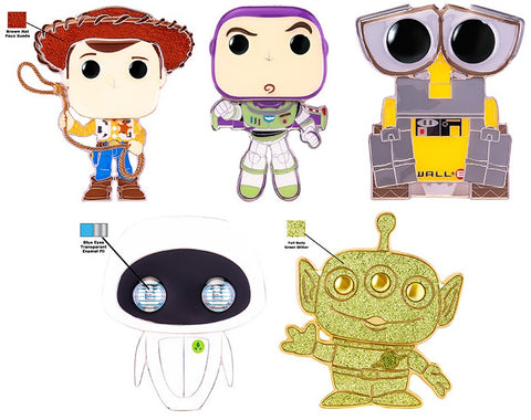 Funko Pop! Pins: Asst: Pixar - Woody, Buzz Lightyear, Wall-E, Eve LG Enml Pin with Chance of Alien chase (Coming Soon)