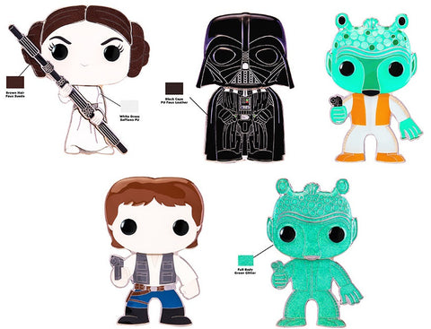 Funko Pop! Pins: Asst: Star Wars - Princess Leia, Darth Vader, Greedo, Han Solo LG Enml Pin with Chance of Greedo chase (Coming Soon)