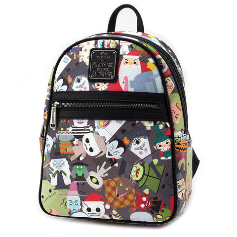 Loungefly Nightmare Before Christmas Chibi Character Print Mini Faux Leather Backpack