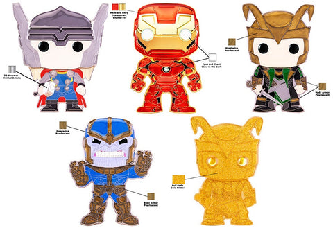 Funko Pop! Pins: Asst: Marvel - Thor, Iron Man, Loki, Thanos LG Enml Pin with Chance of Loki chase